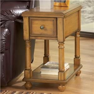 Contemporary Brown Holfield Chairside End Table with Drawer and Shelf