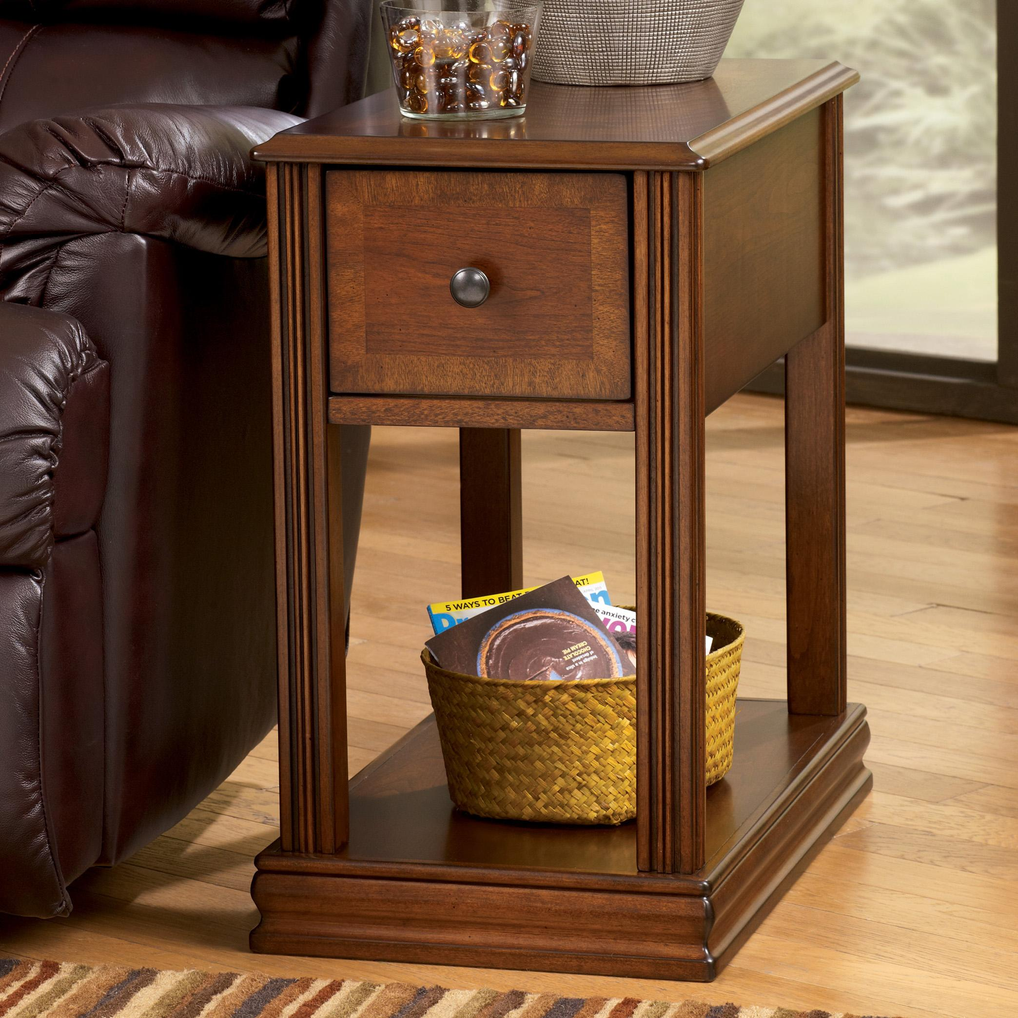 Brown Moulded Hamlyn Chairside End Table with Slide Board