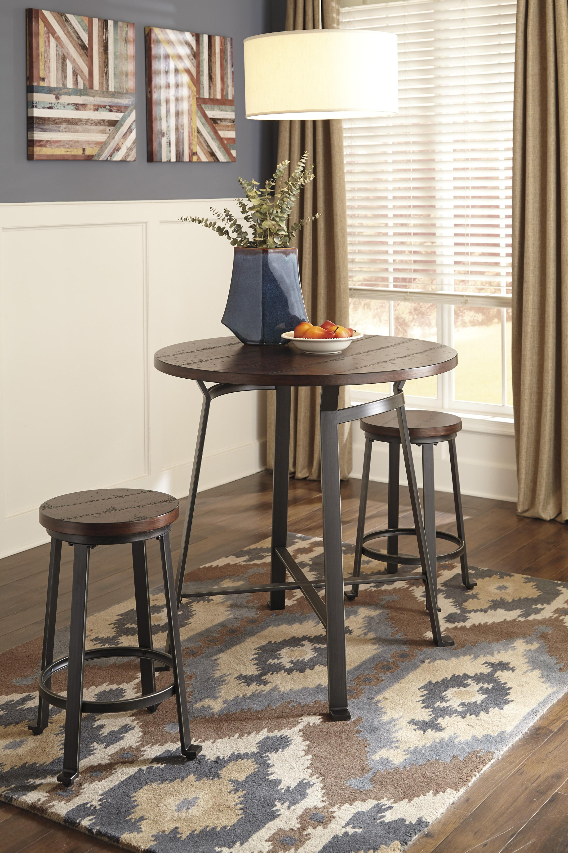 3 piece round counter table set by signature design by ashley wolf
