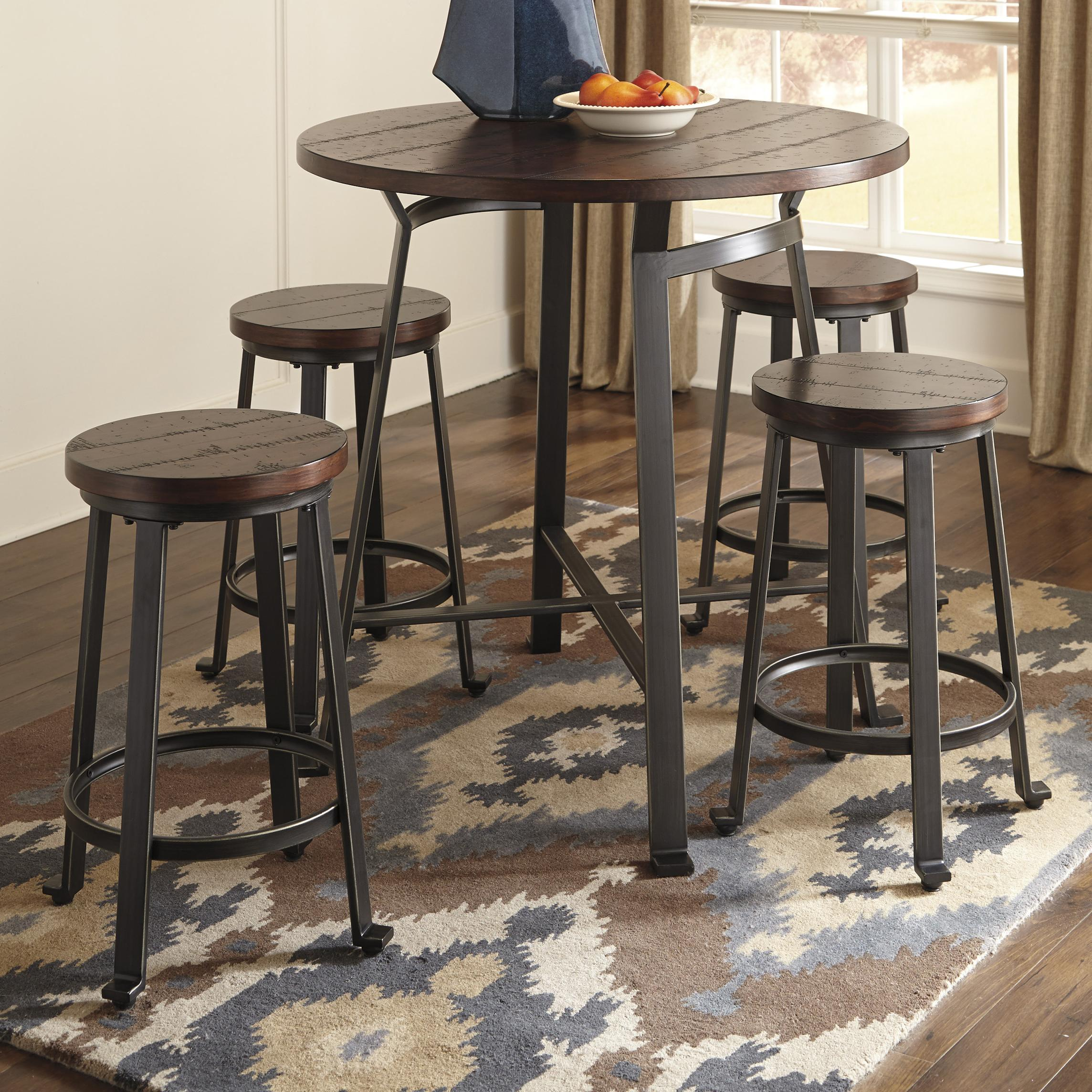 Phenomenal 5 Piece Round Counter Table Set By Signature Design By Ocoug Best Dining Table And Chair Ideas Images Ocougorg
