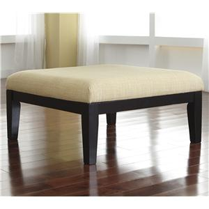 Contemporary Oversized Accent Ottoman with Buttercup Fabric