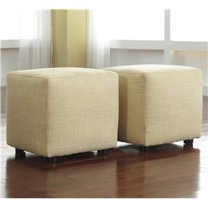 Set of 2 Cube Ottomans in Buttercup Fabric