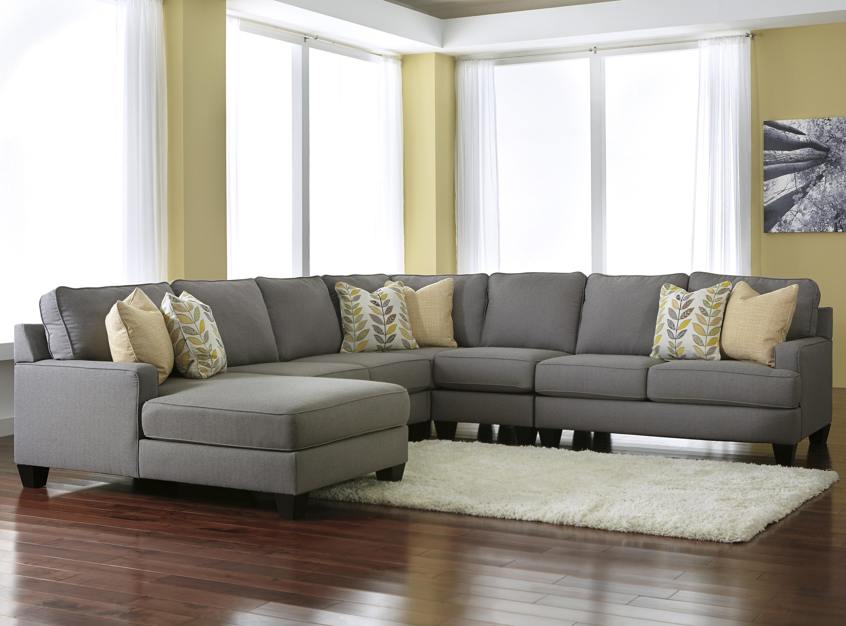 Modern 5 Piece Sectional Sofa with Left Chaise & Reversible Seat