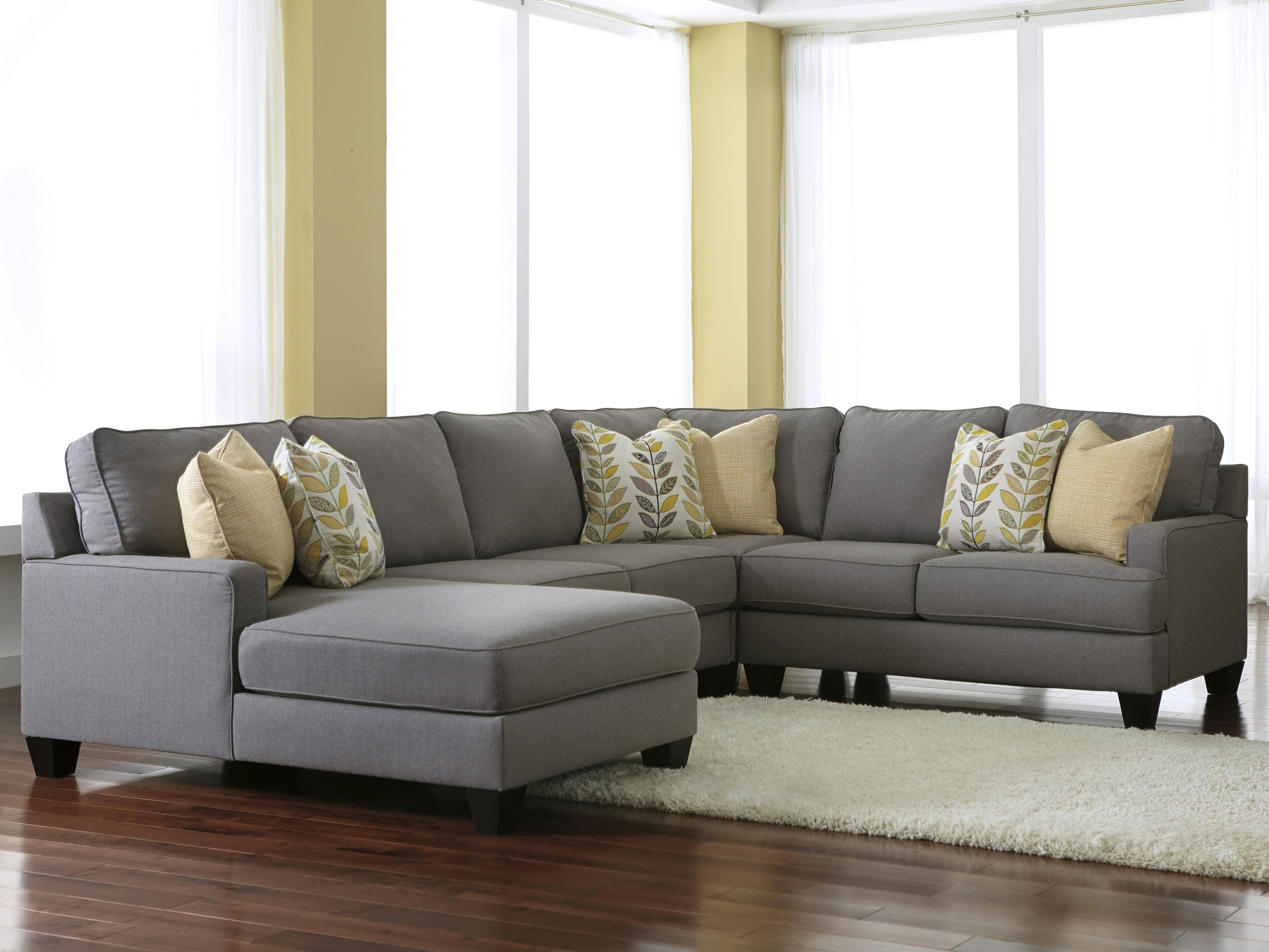 Modern 4 Piece Sectional Sofa with Left Chaise & Reversible Seat