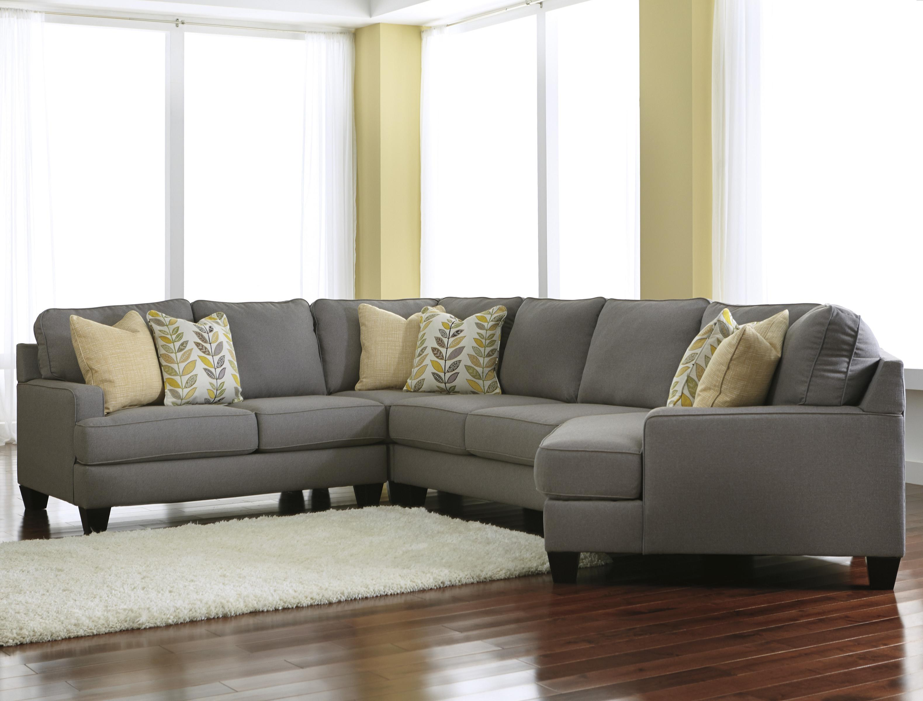 Modern 4 Piece Sectional Sofa With Right Cuddler Reversible Seat  ~ Sectional Sofa With Cuddler