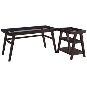 2-Piece Desk Set with Solid Wood Frame & Clear Tempered Glass Tops
