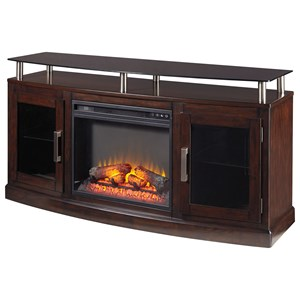 TV Stand with Fireplace Insert & Floating Black Tempered Glass Top