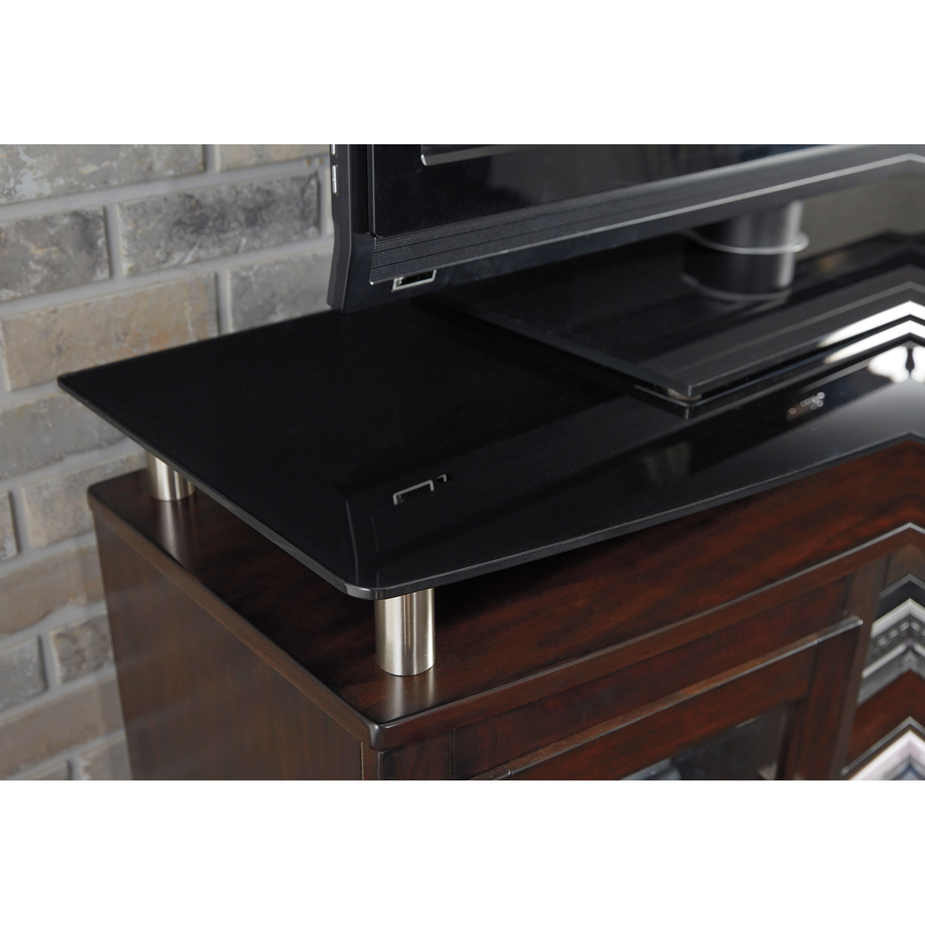 Tv Stand With Fireplace Insert Floating Black Tempered Glass Top