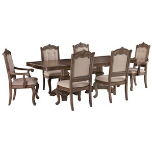 Traditional 7-Piece Rectangular Extension Table Set with Arm Chairs