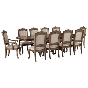 Traditional 11-Piece Rectangular Extension Table Set with Arm Chairs