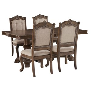 Traditional 5-Piece Rectangular Extension Table Set