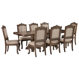 Traditional 9-Piece Rectangular Extension Table Set