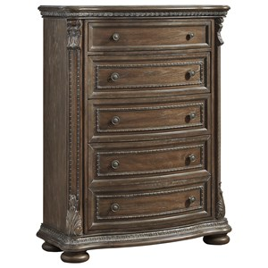 Traditional Five Drawer Chest with Framed Drawer Fronts