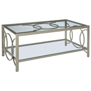 Champagne Finish Metal Rectangular Cocktail Table with Glass Top