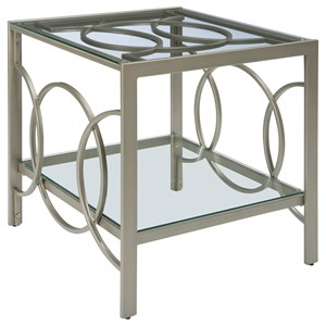 Champagne Finish Metal Rectangular End Table with Glass Top