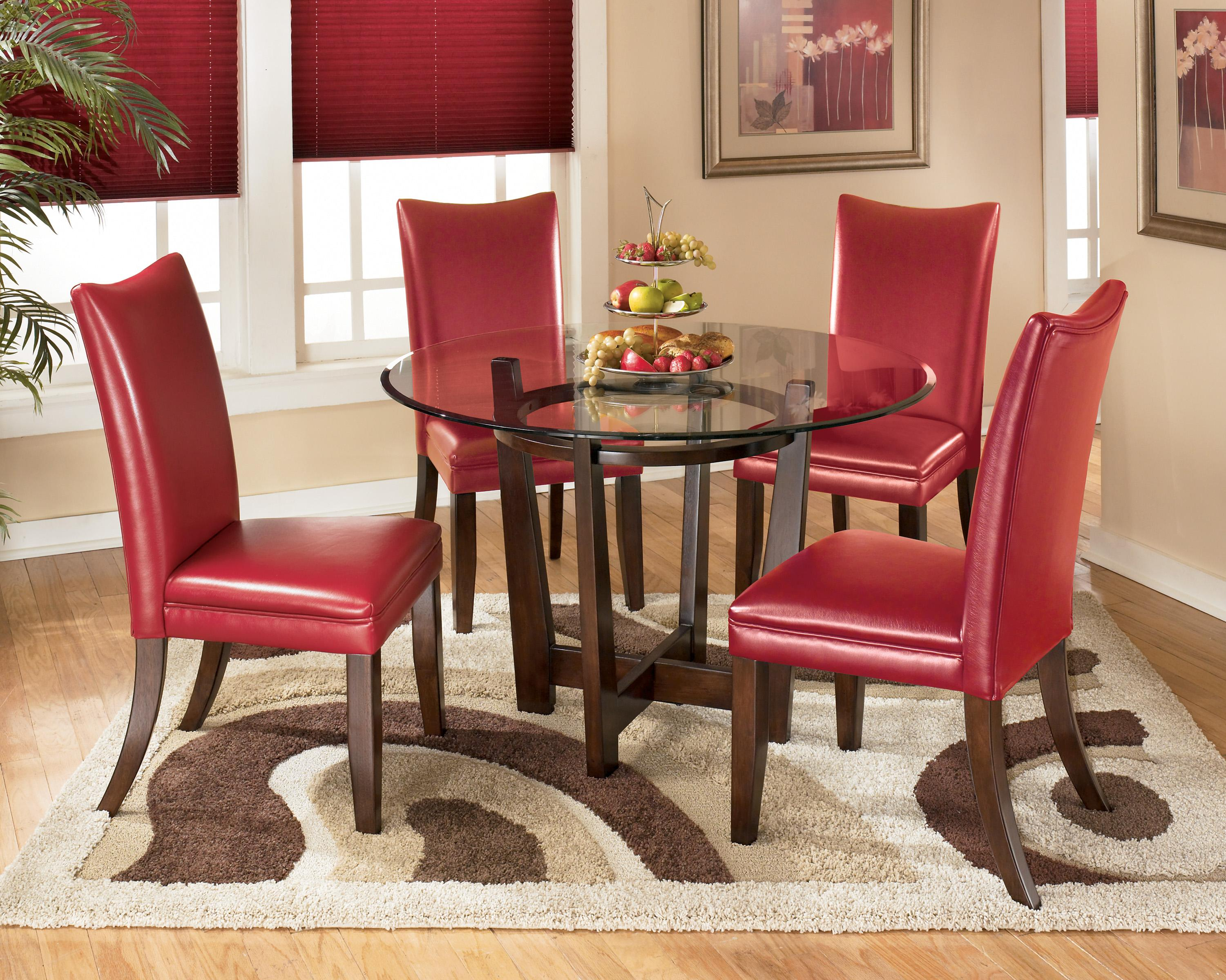 5 Piece Round Dining Table Set with Red Chairs by Signature Design ...