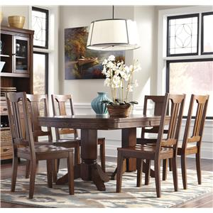 Signature Design by Ashley Chimerin 7-Piece Oval Dining Room Extension Table Set
