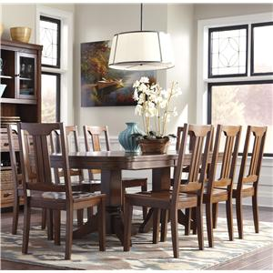 Signature Design by Ashley Chimerin 9-Piece Oval Dining Room Extension Table Set