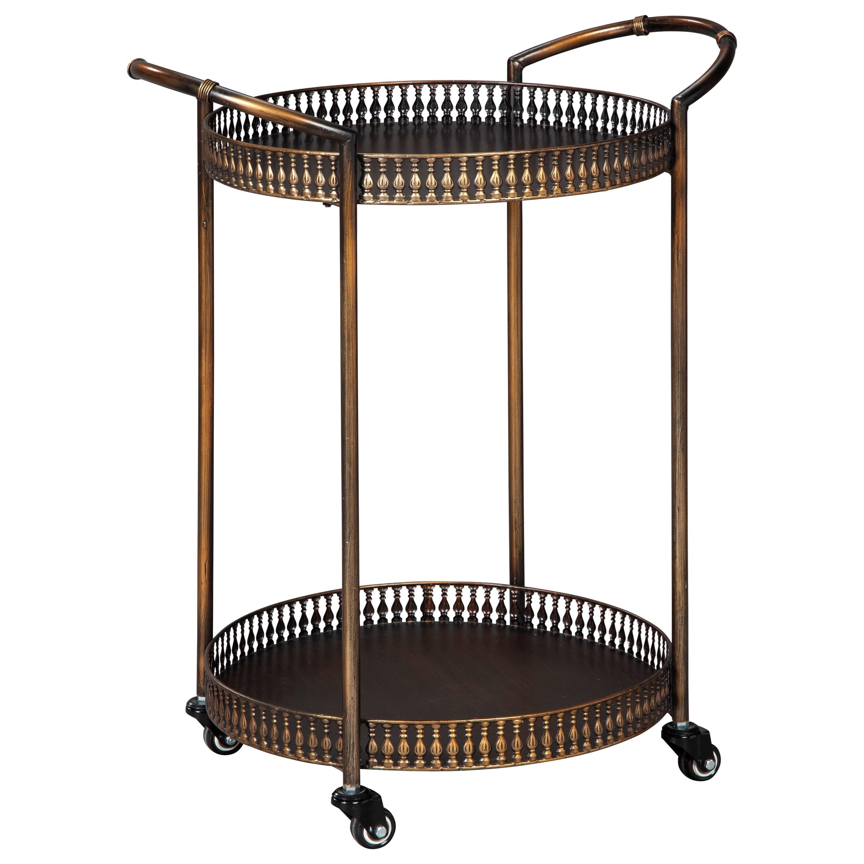 Metal Bar Cart in Antique Bronze Finish