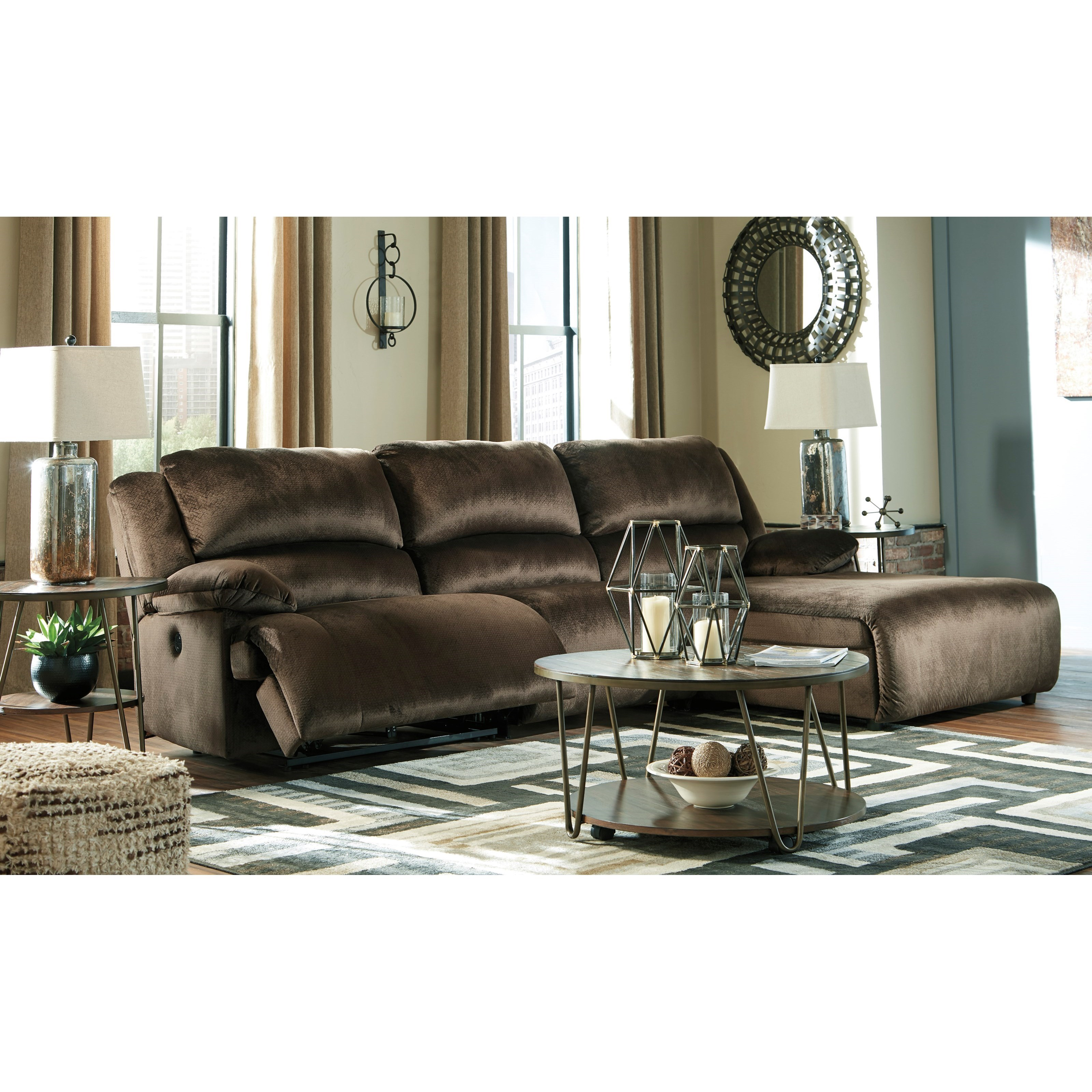 Power Reclining Sectional With Right Press Back Chaise By: Reclining Sectional With Pressback Chaise By Signature