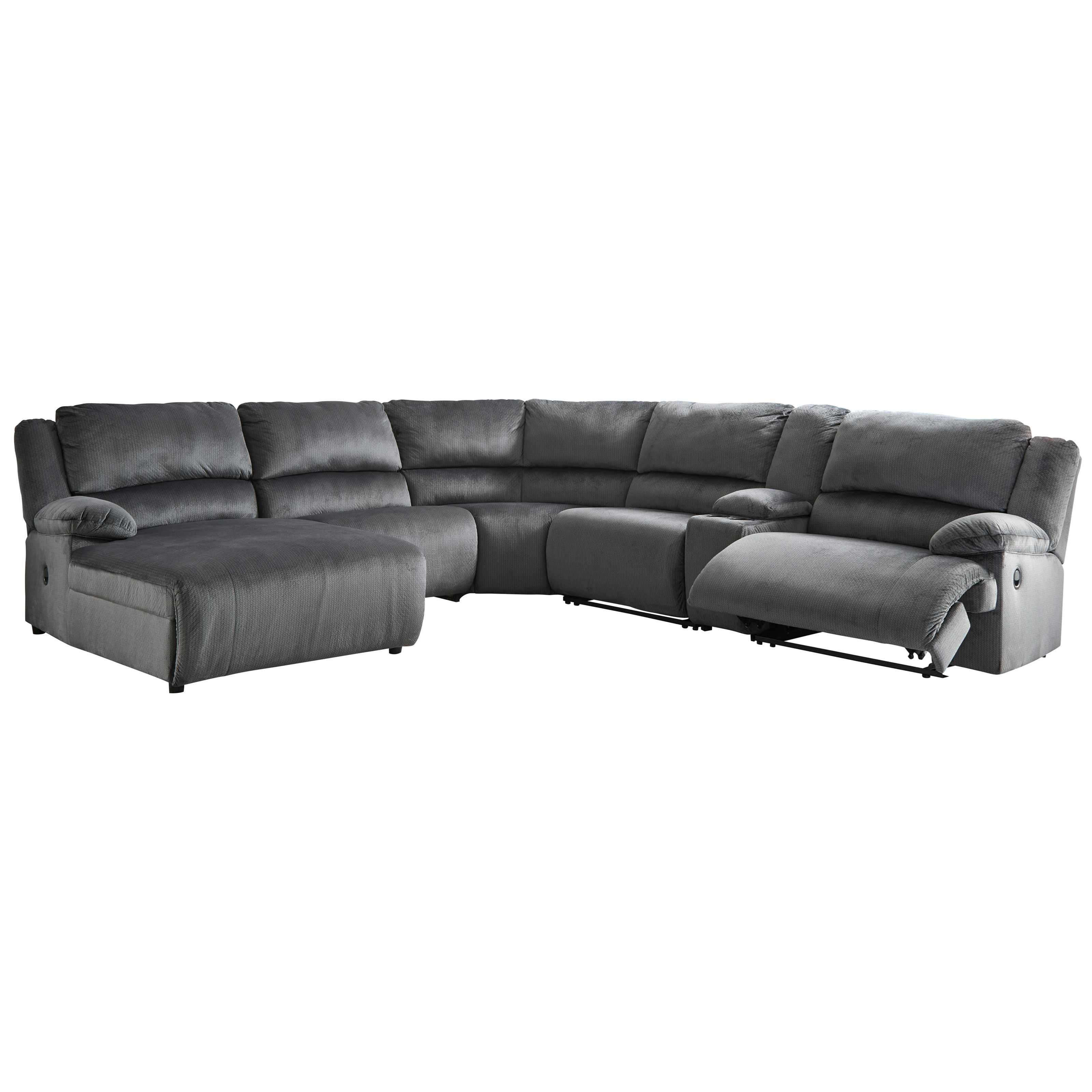 Power Reclining Sectional With Right Press Back Chaise By: Reclining Sectional With Chaise & Console By Signature