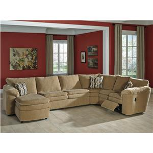 Signature Design By Ashley Coats Casual Contemporary 4 Piece Reclining Sectional With Right