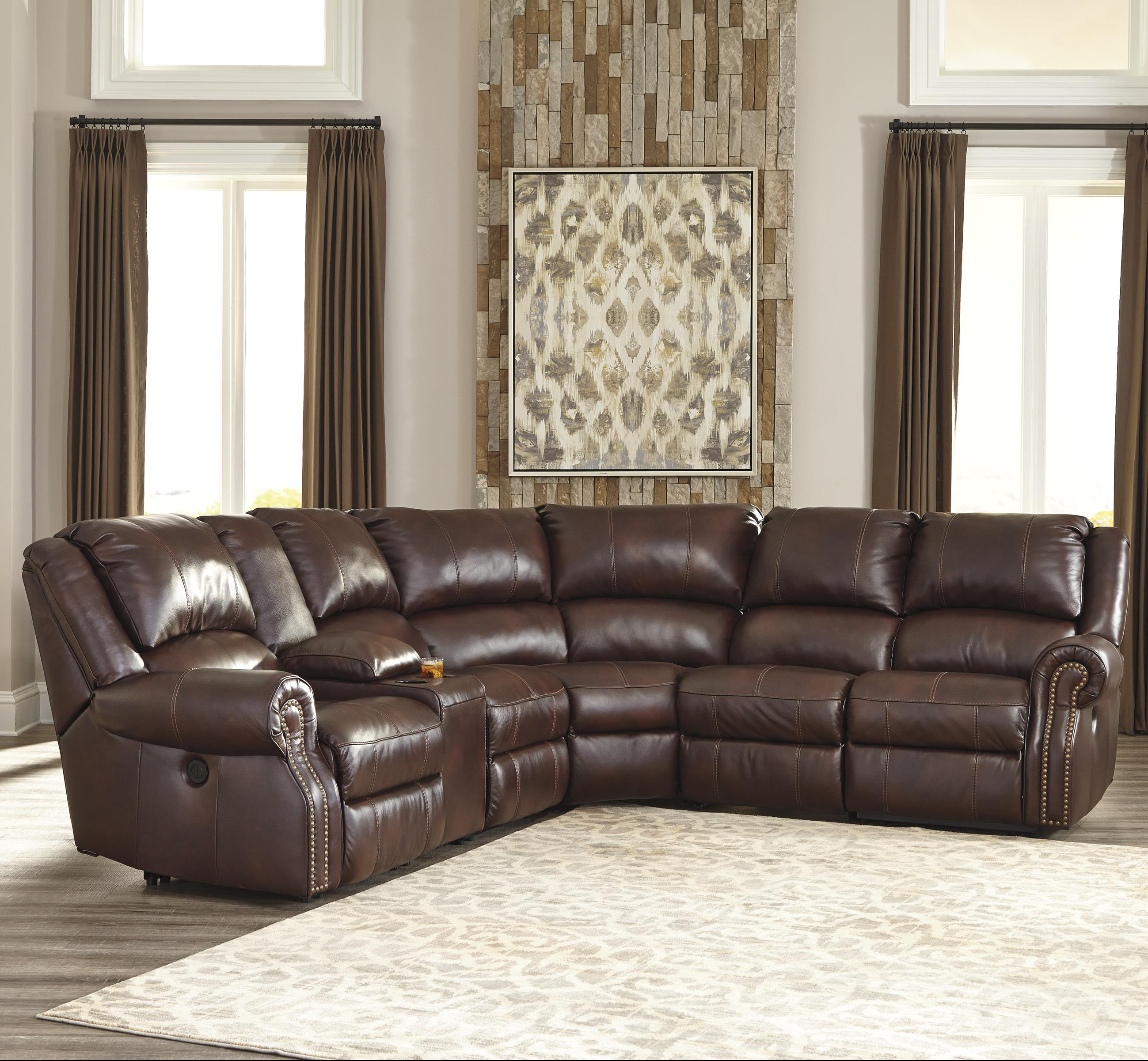6piece power reclining sectional with console u0026 2 armless recliners