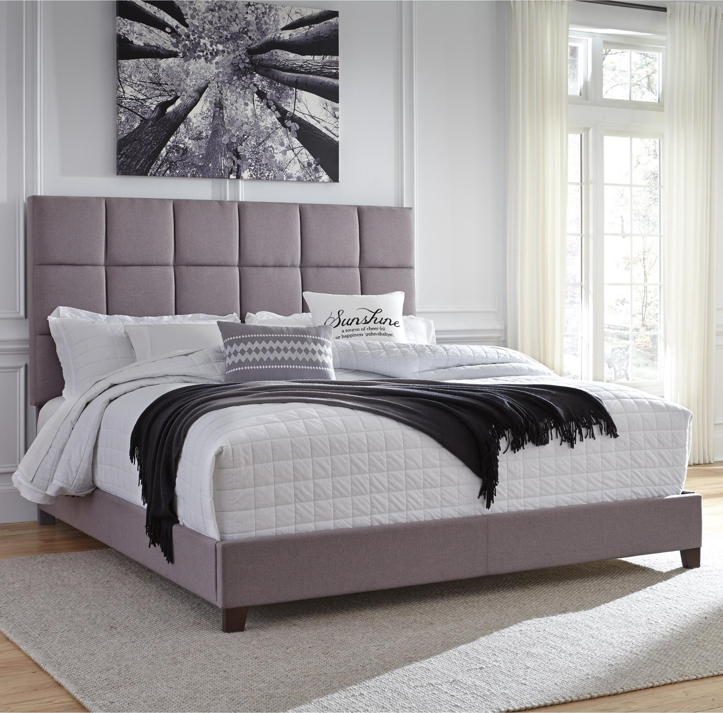 King Upholstered Bed In Gray Fabric By Signature Design By