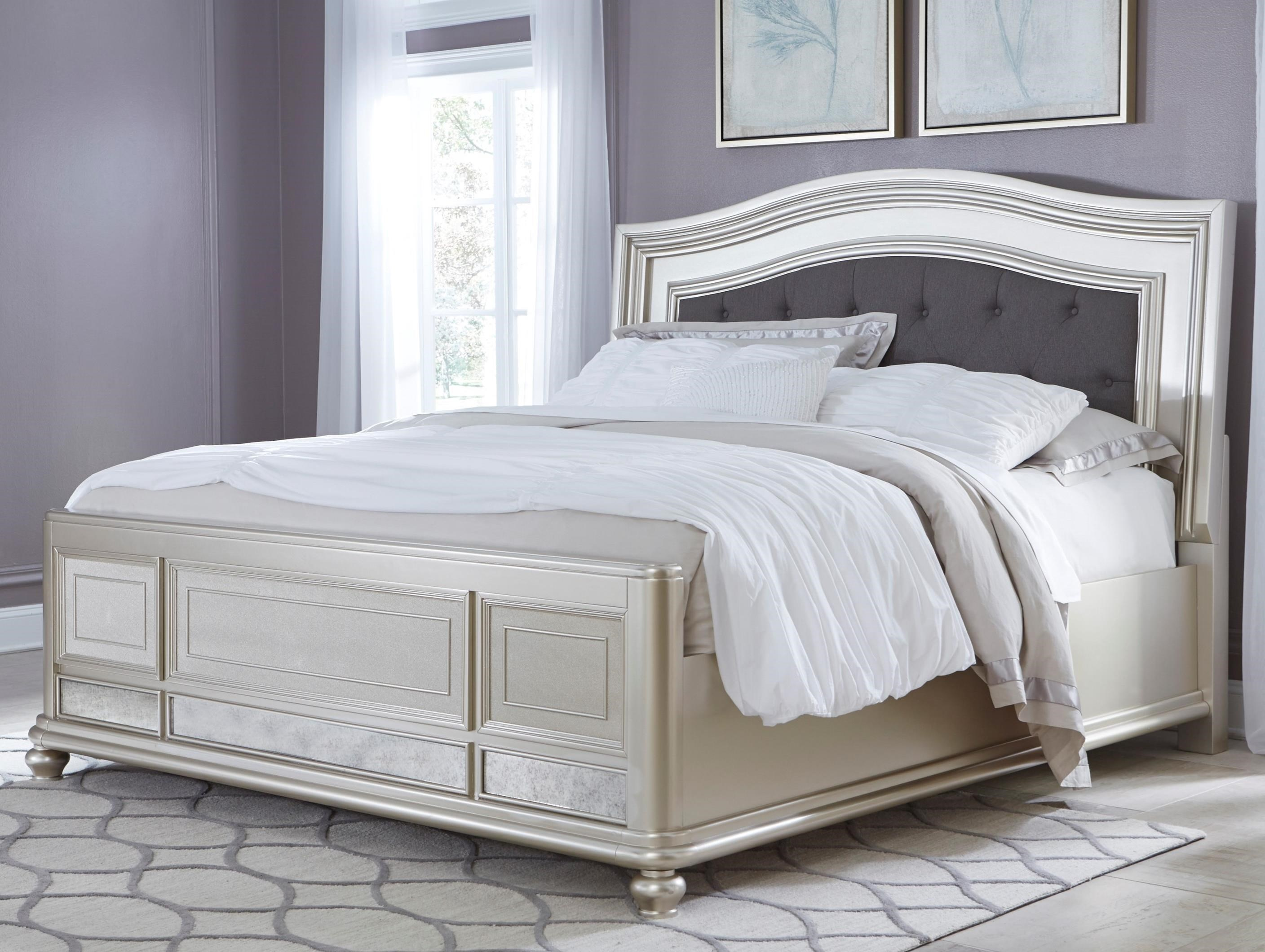King Panel Bed With Arched Upholstered Headboard And Silver Finish Frame By Signature Design By