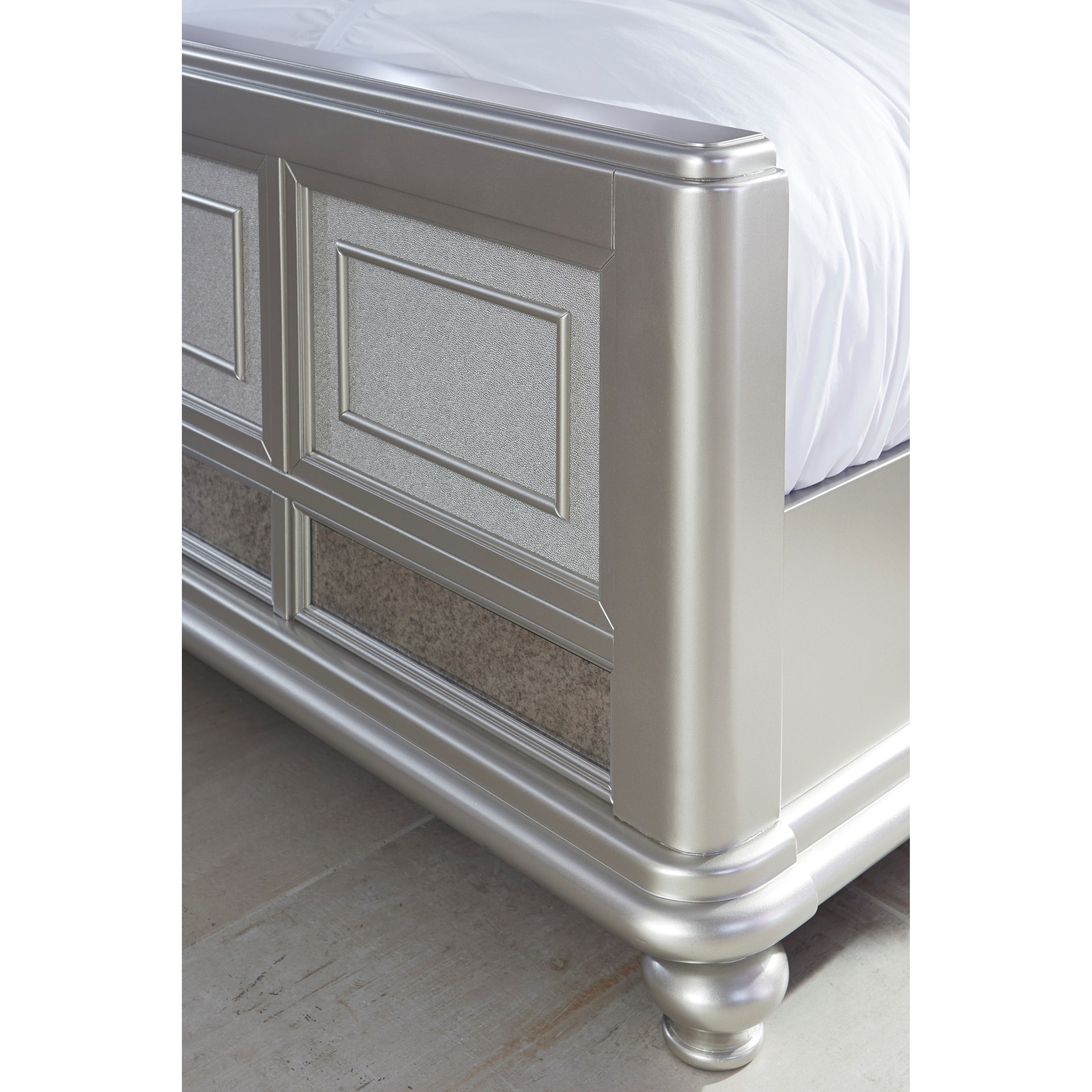 Cal King Panel Bed W/ Upholstered Headboard
