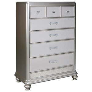 Five Drawer Chest in Silver Paint Finish