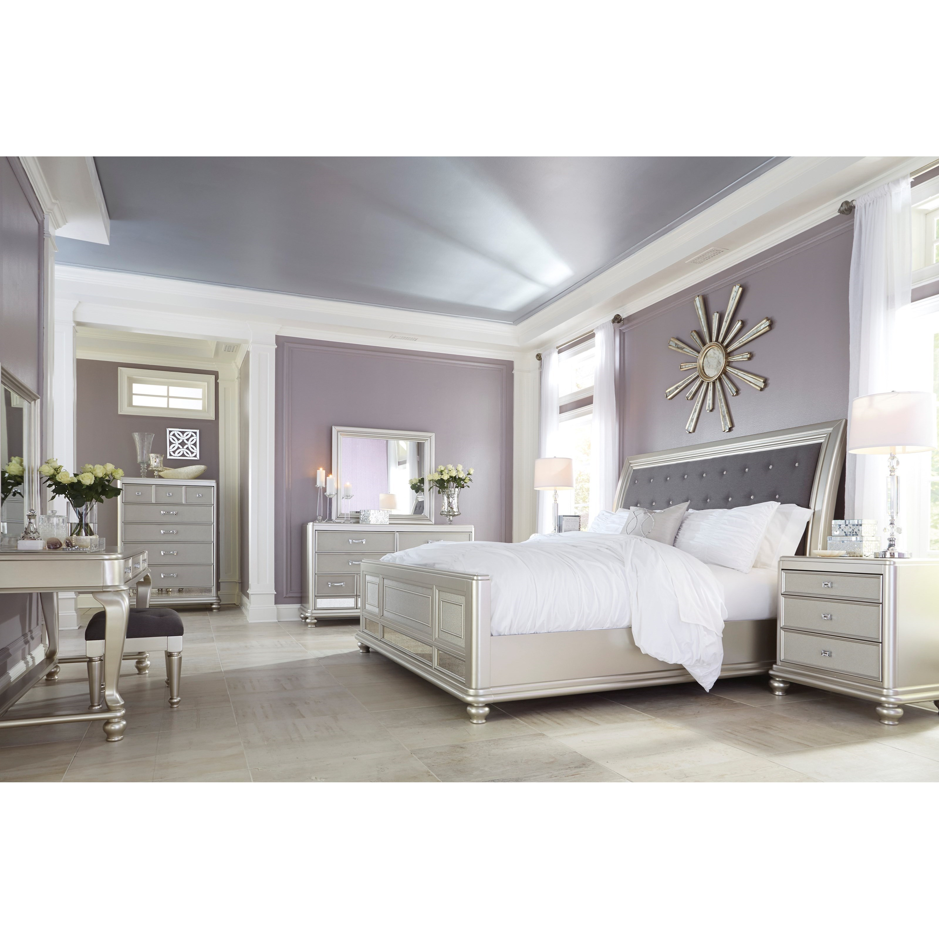 Queen bed with upholstered sleigh headboard