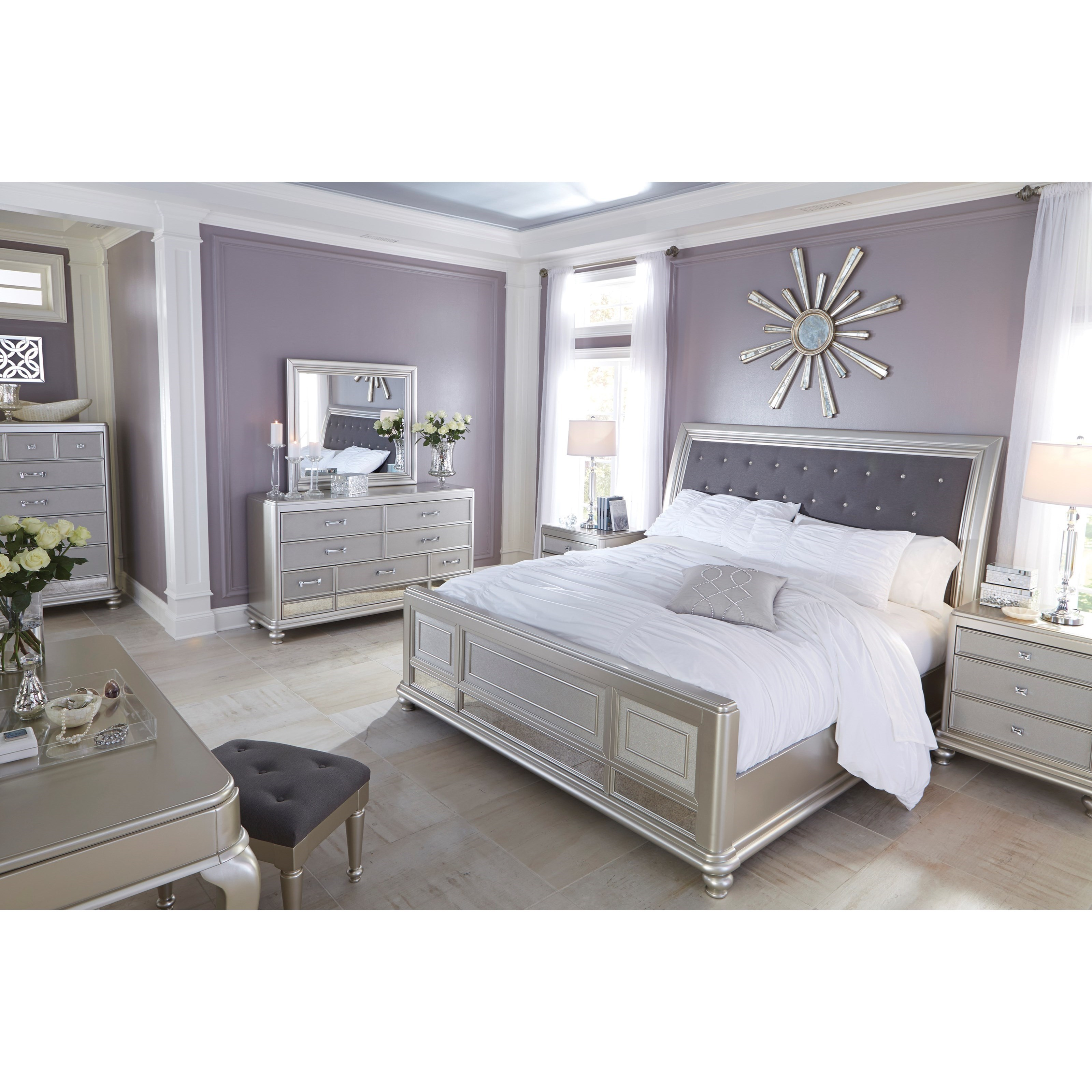 Queen Bed With Upholstered Sleigh Headboard And Silver