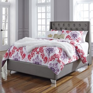 Full Upholstered Bed with Tall Headboard with Faux Crystal Tufting