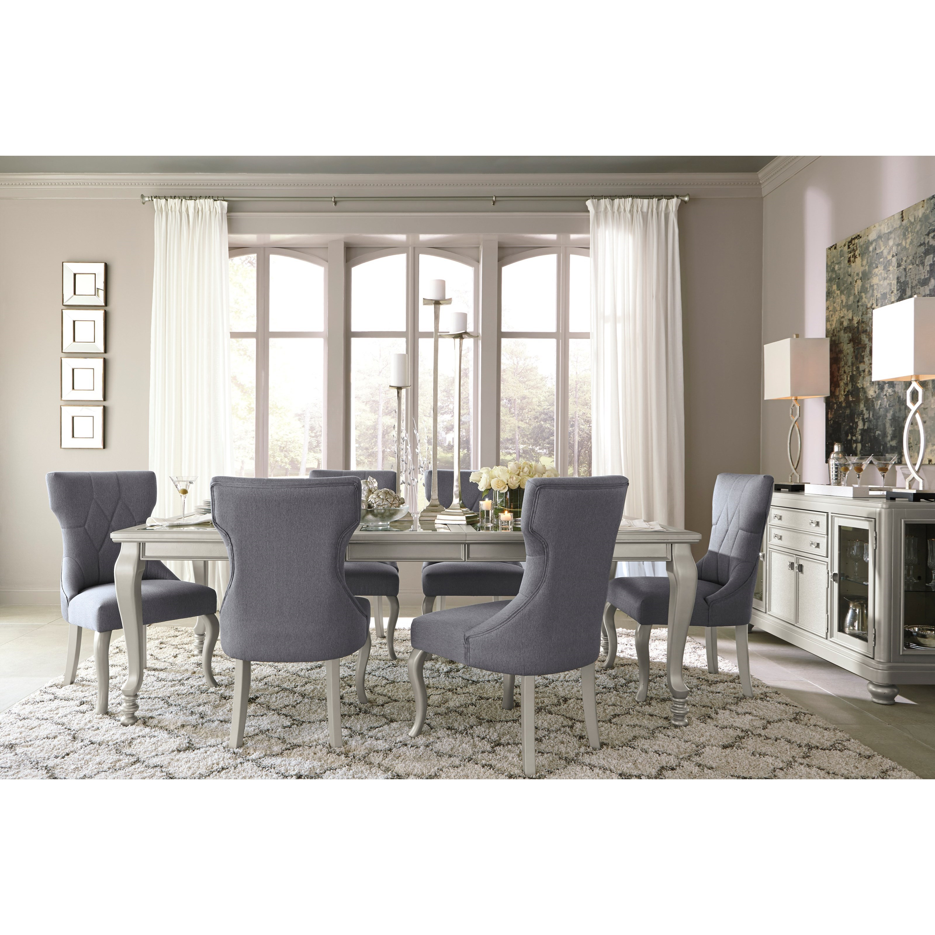 Rectangular Dining Room Extension Table with Glass Inserts by