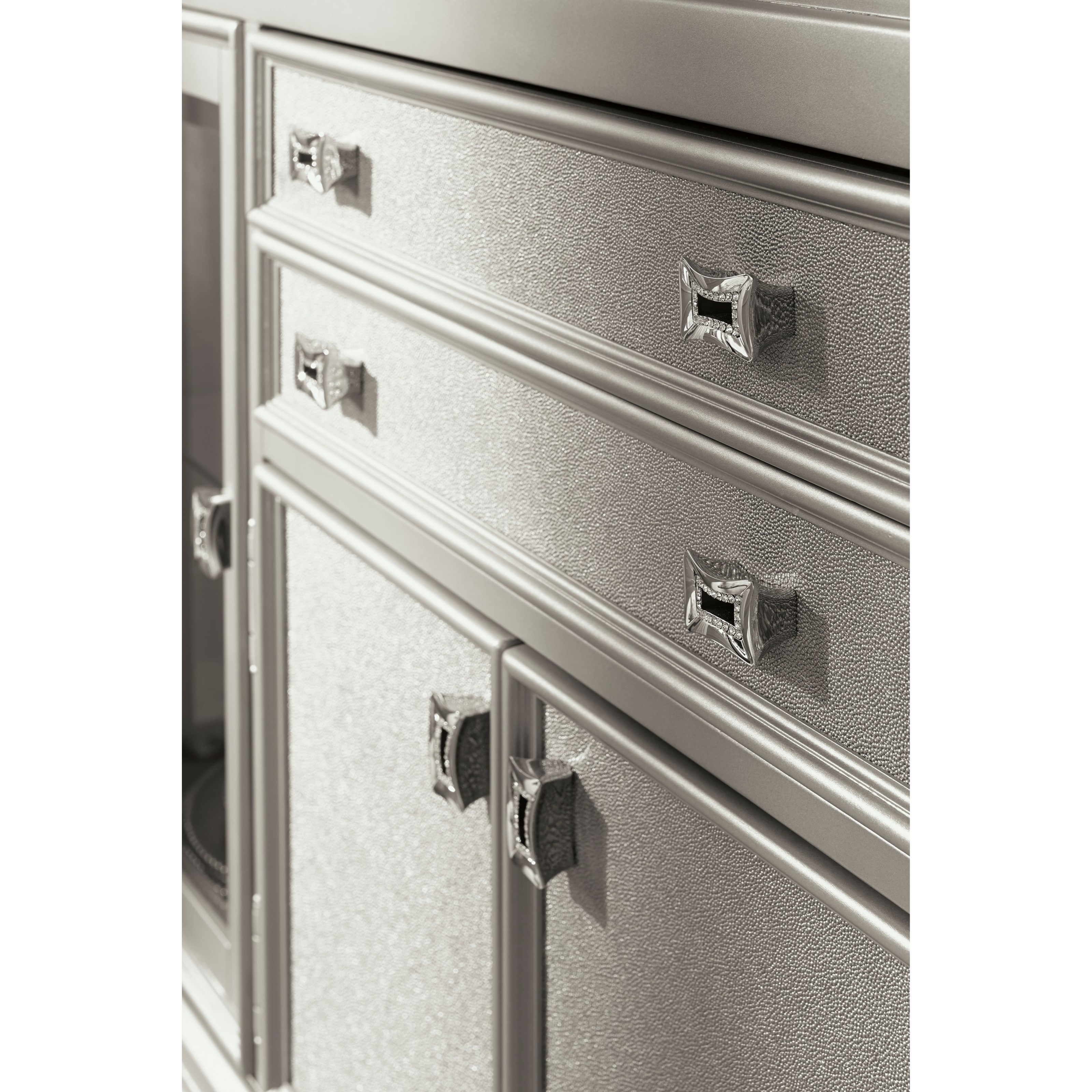 Dining Room Server With Glass Doors Silver Finish By Signature