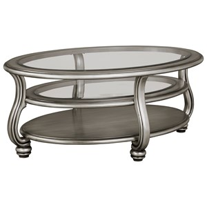Oval Cocktail Table in Silver Finish with Glass Top