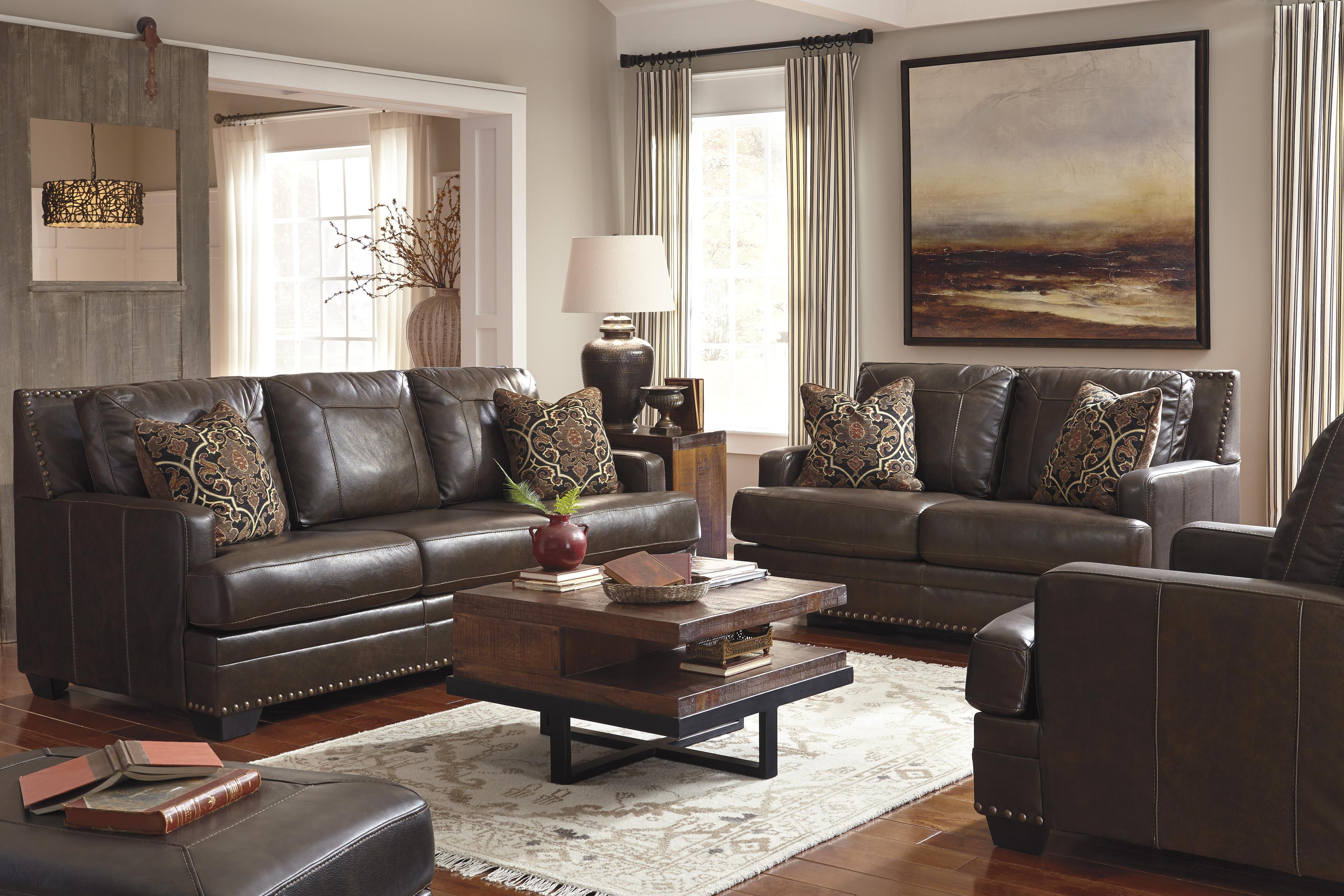 Leather Match Sofa With Coil Seat Cushions