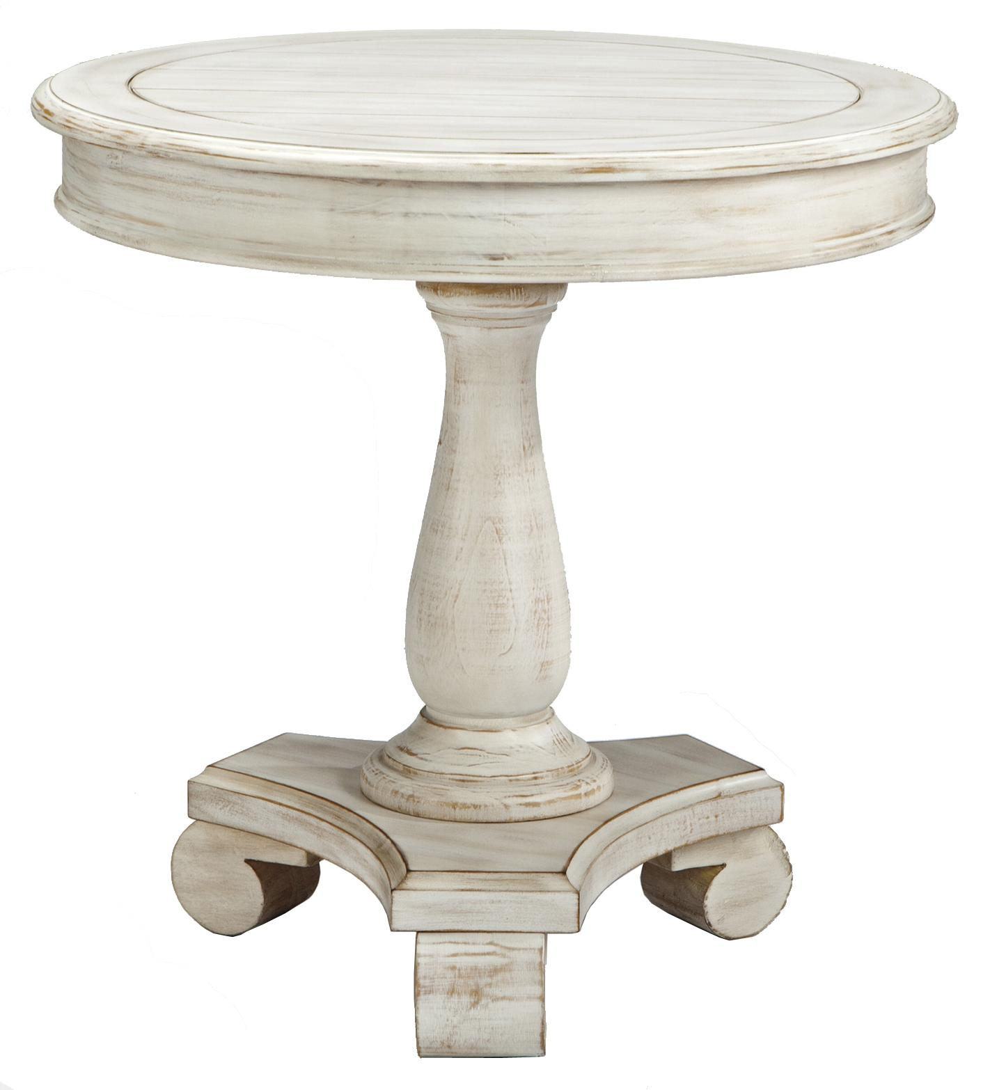 Round accent table with turned pedestal base by signature