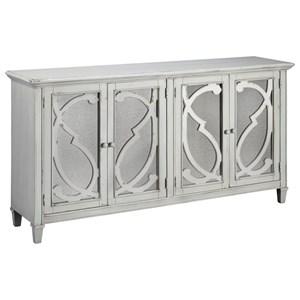 Door Accent Cabinet in Gray Finish with Mirror Doors
