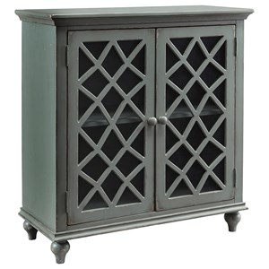 Lattice Glass Door Accent Cabinet in Antique Gray Finish