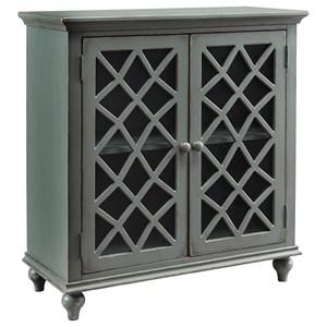 Lattice Glass Door Accent Cabinet in Antique Gray Finish