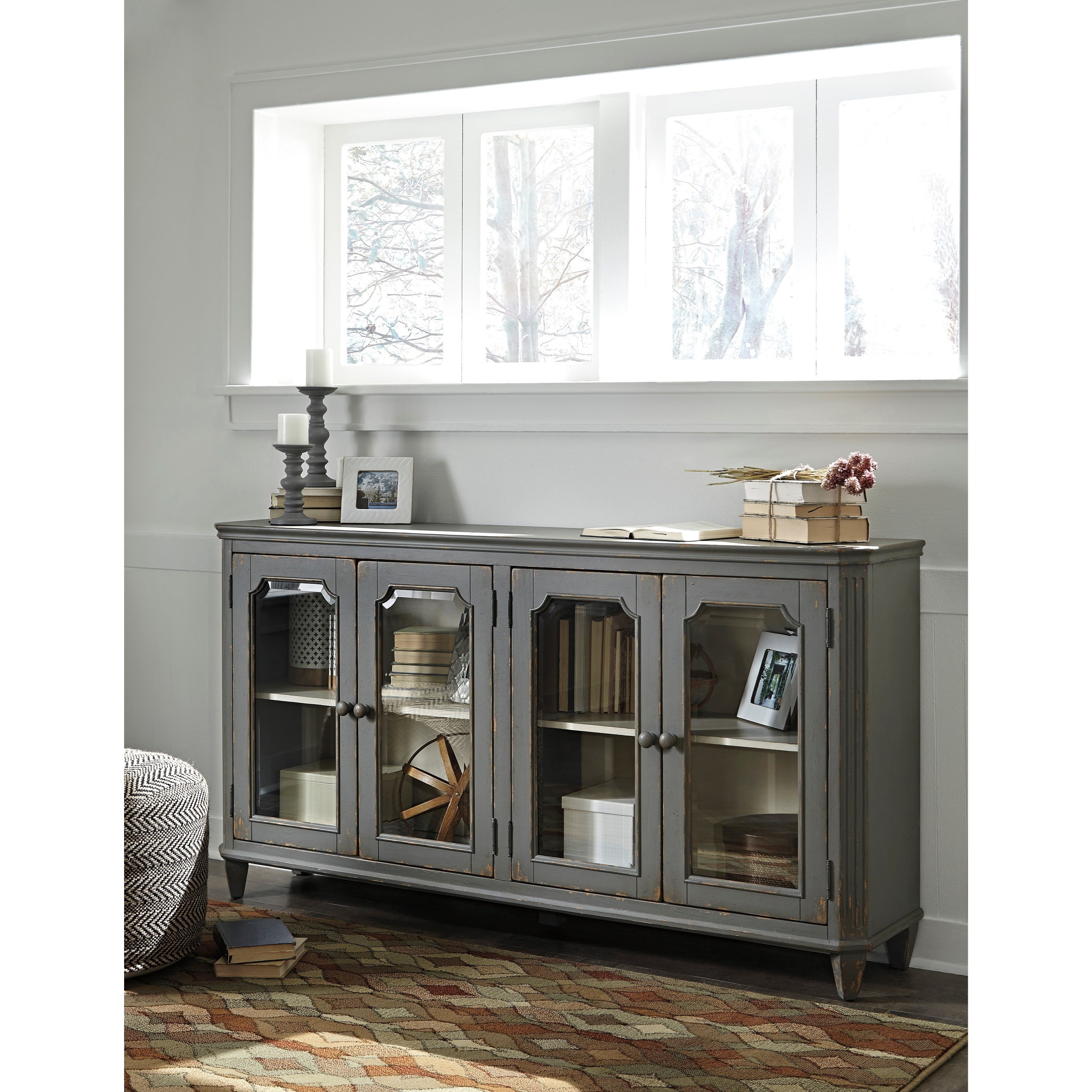 Accent cabinet with glass doors - French Provincial Style Glass Door Accent Cabinet In Antique Gray Finish