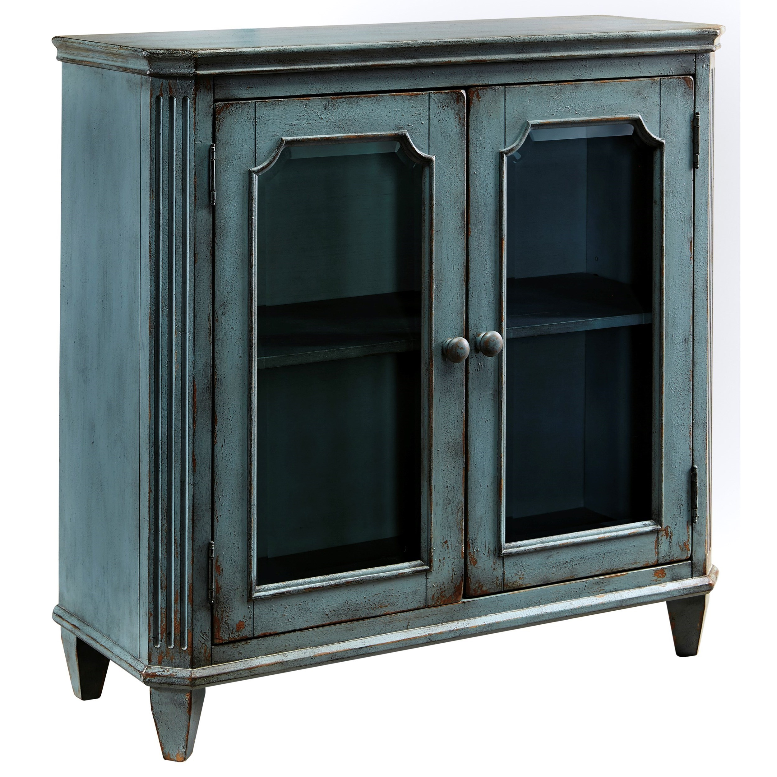 French Provincial Style Glass Door Accent Cabinet in Antique Teal ...