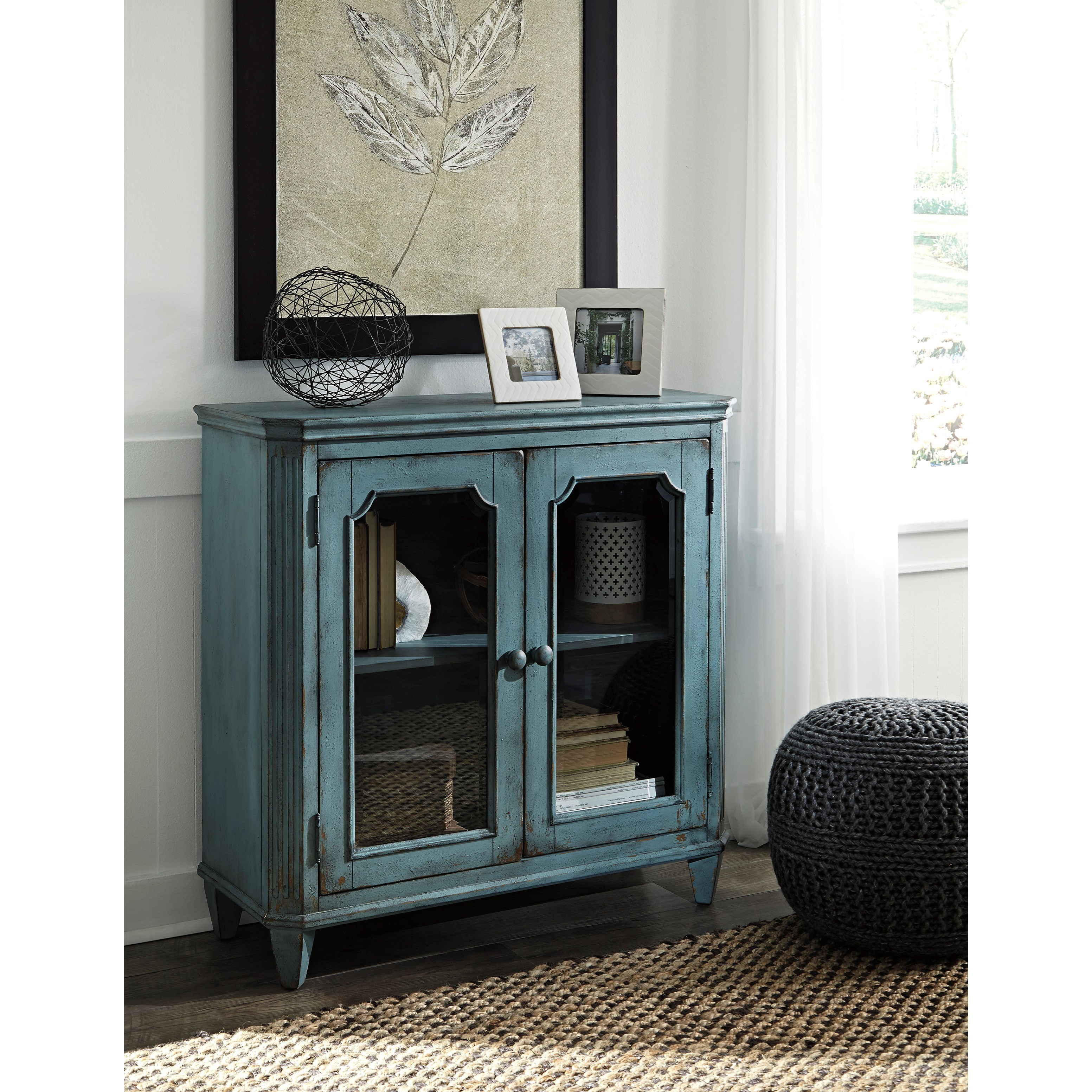 French Provincial Style Glass Door Accent Cabinet in Antique Teal Finish  sc 1 st  Wolf Furniture : door accents - pezcame.com