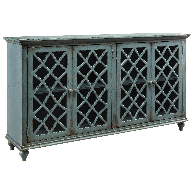 Lattice Glass Door Accent Cabinet In Antique Teal Finish