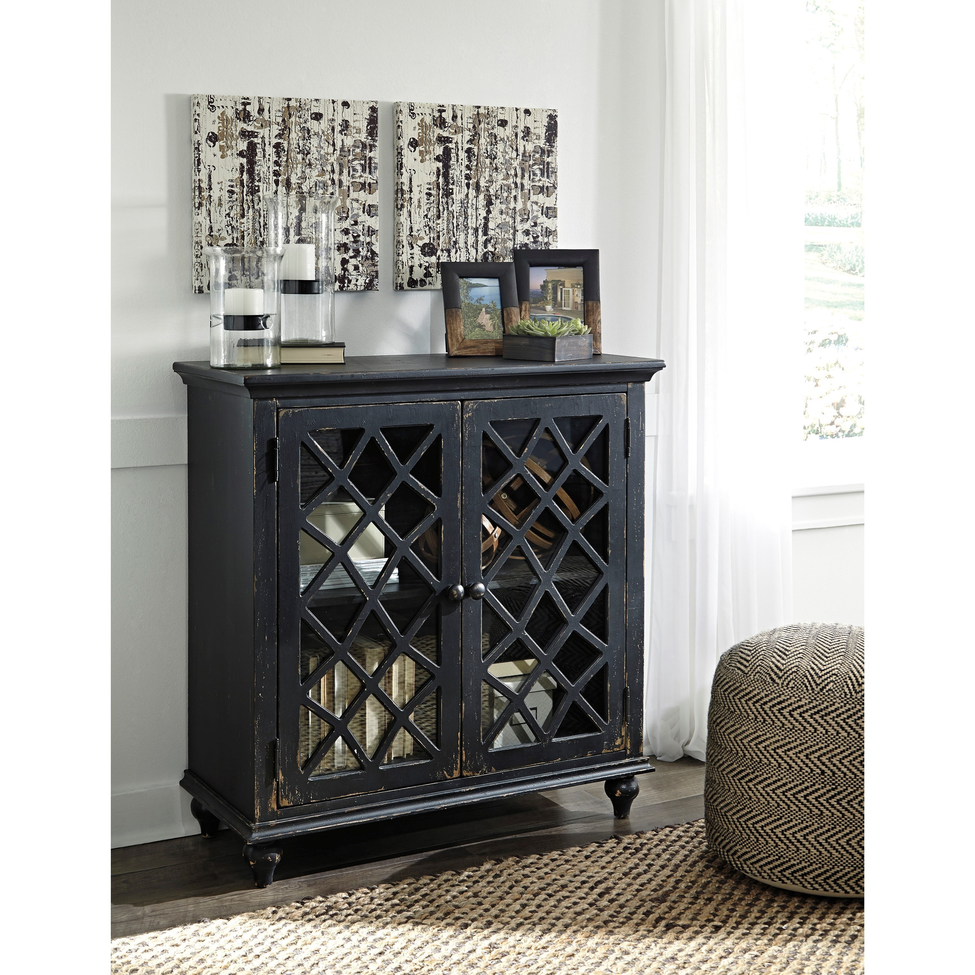 Accent cabinet with glass doors - Lattice Glass Door Accent Cabinet In Antique Black Finish