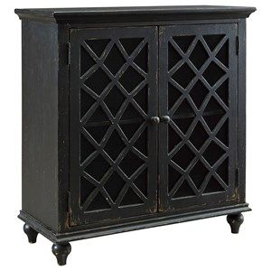Lattice Glass Door Accent Cabinet in Antique Black Finish