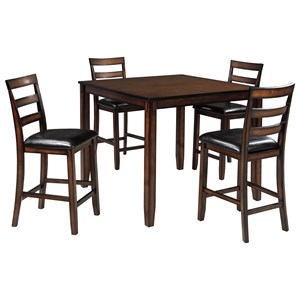 Burnished Brown 5-Piece Dining Room Counter Table Set
