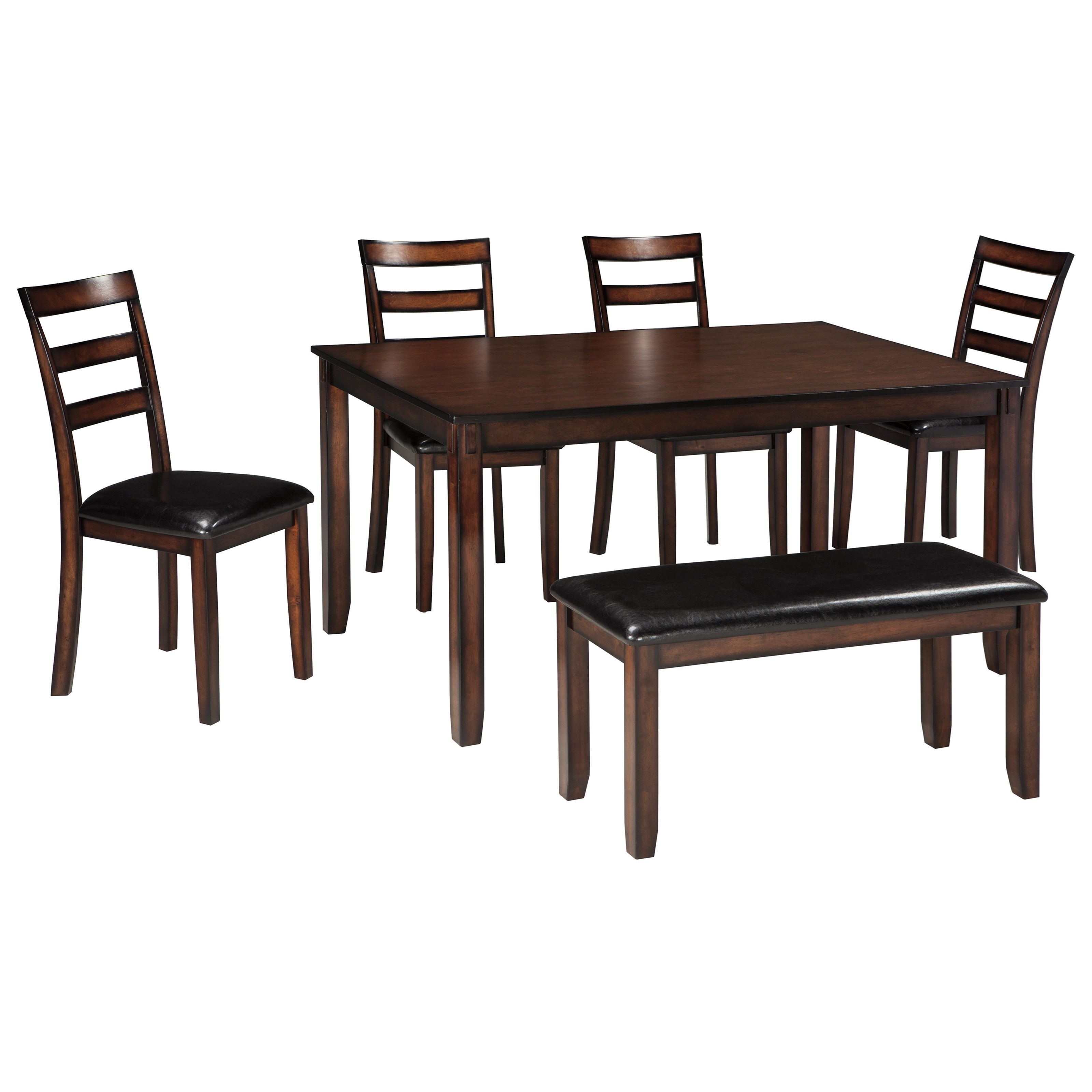 Burnished Brown 6-Piece Dining Table Set with Bench by Signature ...